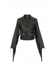 Elisabetta Franchi Leather Jacket with Fringes