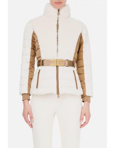 Elisabetta Franchi Abrigo corto acolchado con cinturón - altamoda.shop - PI31H06E2