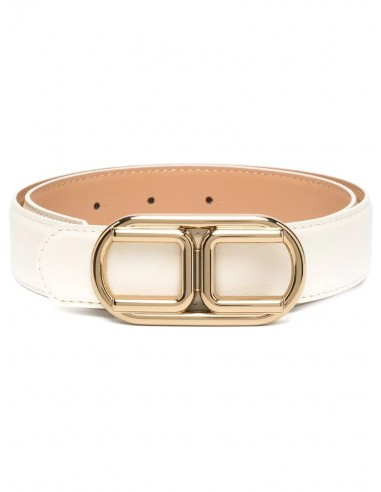 Belt with light gold logo buckle