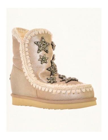 MOU Short Eskimo Boots, Inner Wedge, Crystal Stars, Rose Beige - altamoda.shop