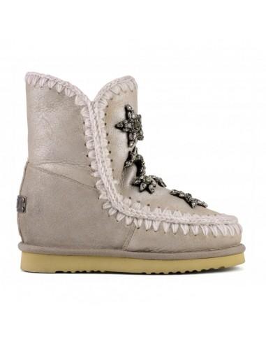 MOU Krótkie buty Eskimo, kamień metaliczny, kryształowe gwiazdy, wewnętrzny klin - altamoda.shop