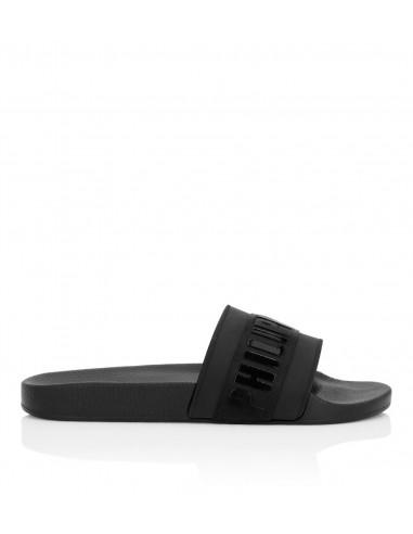 Sandales plates en gomme Philipp Plein avec logo chez altamoda.shop - F19S MSG0025 PTE003N
