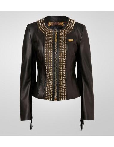 Philipp Plein Leather Jacket 'Cowboy Style' bij altamoda.shop - FW14 CW213352