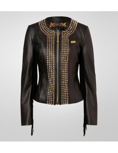 "Philipp Plein Leather Jacket ""Cowboy Style"" w altamoda.shop - FW14 CW213352"