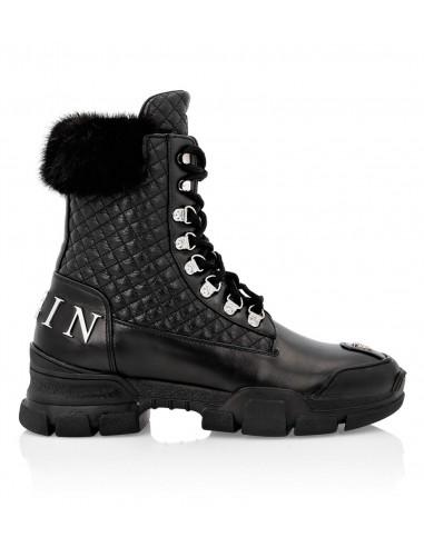 Philipp Plein Padded Leather Boots em altamoda.shop - A19S WSE0406 PFU019F