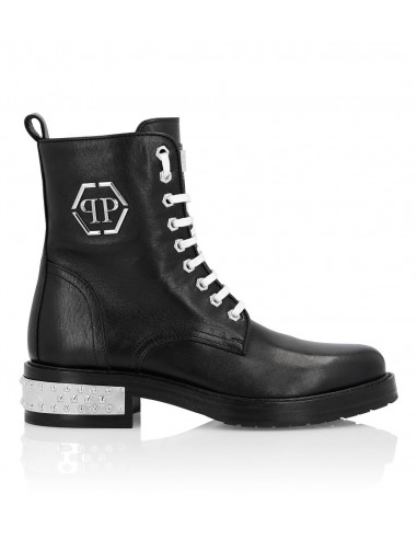 Philipp Plein Leather Boots with Metal Logo at altamoda.shop - F19S WSE0303 PLE075N