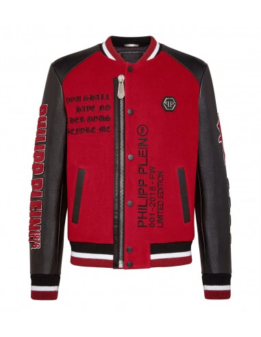 Philipp Plein Leather Leather Bomber Jacket em altamoda.shop - A18C MLB0613 PLE010N
