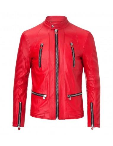 Philipp Plein Leather Jacket met Koreaanse Hals bij altamoda.shop - SS16 HM210274