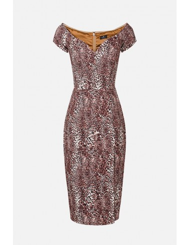 Elisabetta Franchi Animal Print Midi Dress with Scoop Neckline - altamoda.shop - AB94306E2