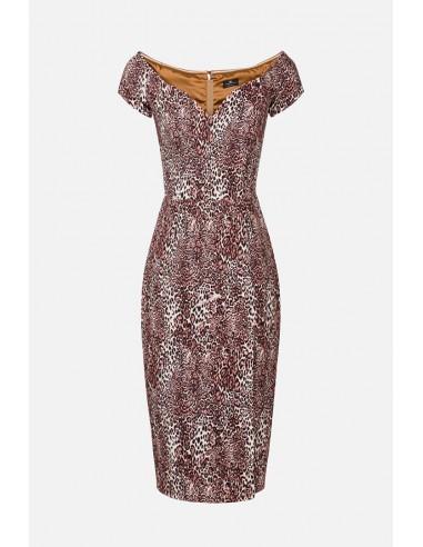 Elisabetta Franchi Animal Print Vestido largo con escote de cuchara - altamoda.shop - AB94306E2