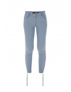 Elisabetta Franchi Trousers in Smoky Blue with Zips