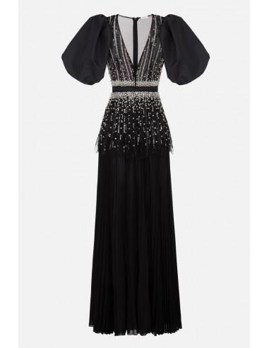Elisabetta Franchi Długa sukienka z obrzmiałymi rękawami - altamoda.shop - AB98306E2