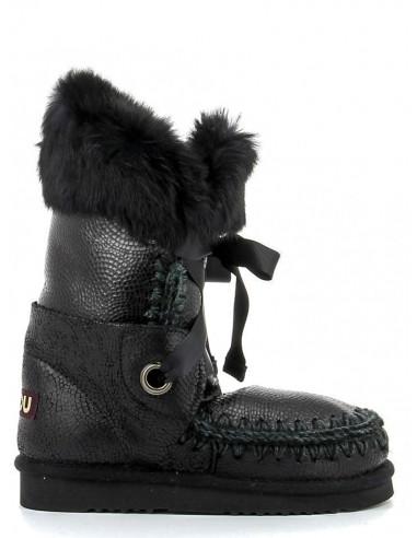 MOU Zwart Leder Laarzen met veters - altamoda.shop - MU.FW101004B