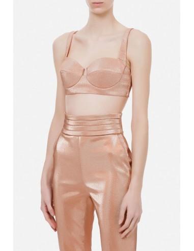 Elisabetta Franchi Lurex top with sweetheart neckline - altamoda.shop - TO01107E2