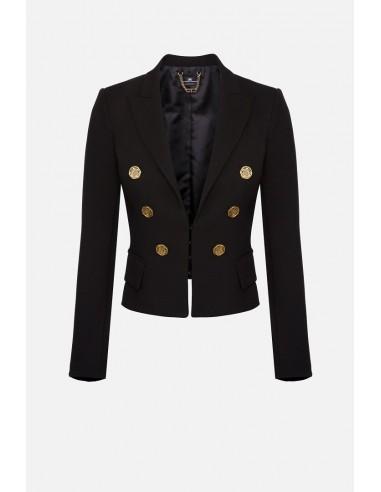 Elisabetta Franchi Short jacket with maxi V-neck - altamoda.shop - GI94806E2