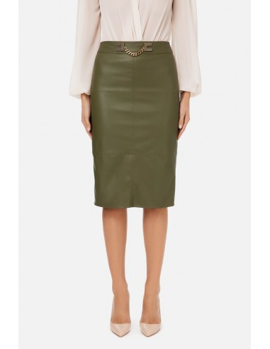 Elisabetta Franchi Midi skirt with gold detailing - altamoda.shop - GO41906E2