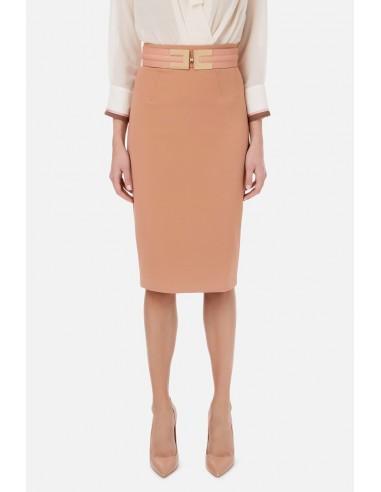 Elisabetta Franchi Calf-length skirt with logoed belt - altamoda.shop - GO42506E3