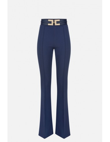 Elisabetta Franchi broek met klokkende onderkant en riem - altamoda.shop - PA36106E2
