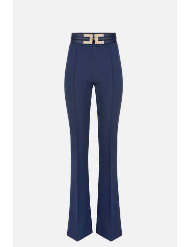 Pantalones Elisabetta Franchi con fondo de campana y cinturón - altamoda.shop - PA36106E2