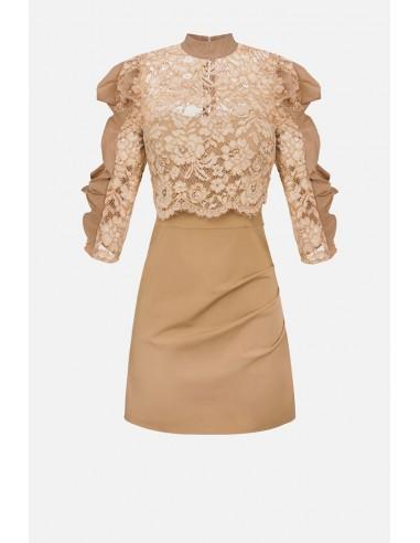 Vestido de encaje con volantes Elisabetta Franchi - altamoda.shop - AB08107E2