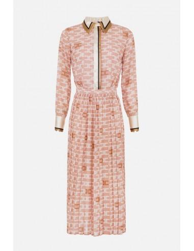 Elisabetta Franchi Midi-jurk met plooien en logo-opdruk - altamoda.shop - AB99806E2