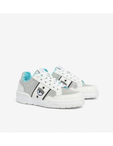 Silver & Blue Leather Sneakers CF1 de Chiara Ferragni | Altamoda | CF2832_067_35