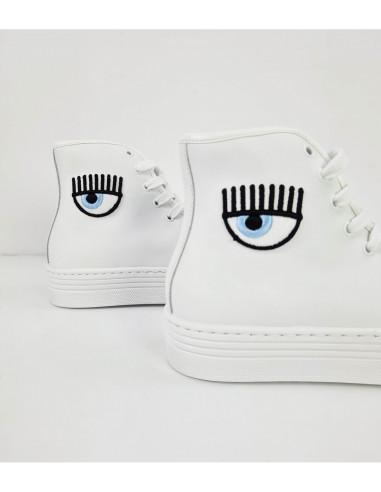 Zapatilla de bota de cuero blanco de Chiara Ferragni   Altamoda  CF2847-009