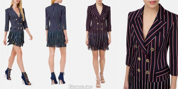 Elisabetta Franchi Double-breasted dress with fringes