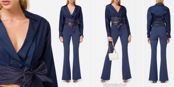 Elisabetta Franchi Cotton blouse with maxi bow at the waist